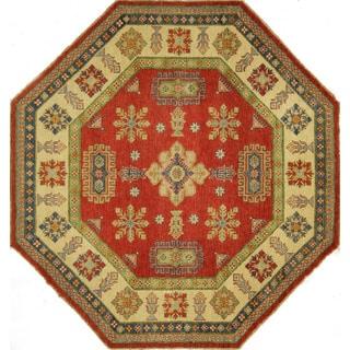 Octagon Hand-knotted Wool Super Kazak Oriental Red-Ivory Border Rug (8' x 8', 8')