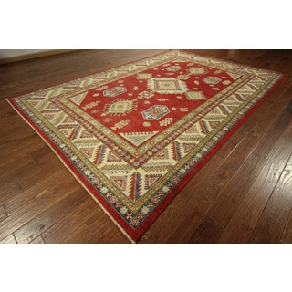 Oriental Adina Collection Red Super Kazak Hand-knotted Wool Rug (8' x 12')