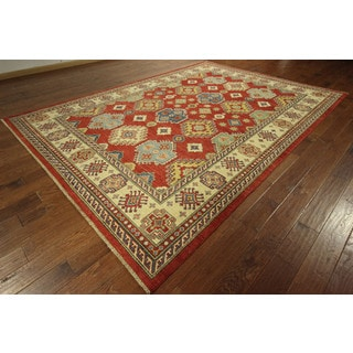 Geometric Super Kazak Hand-knotted Wool Red Vegetable Dyed Tribal Rug (8' x 12')