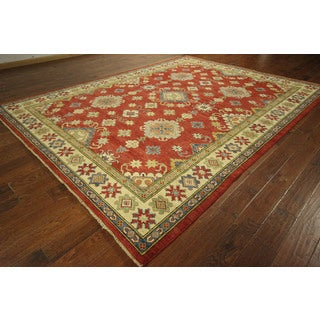 Geometric Morris Collection Super Kazak Hand-knotted Wool Rug (9' x 12', 9' x 10')