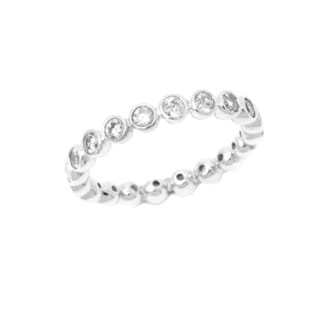 Pori 18k White Goldplated Sterling Silver Round Bezel Cubic Zirconia Eternity Band