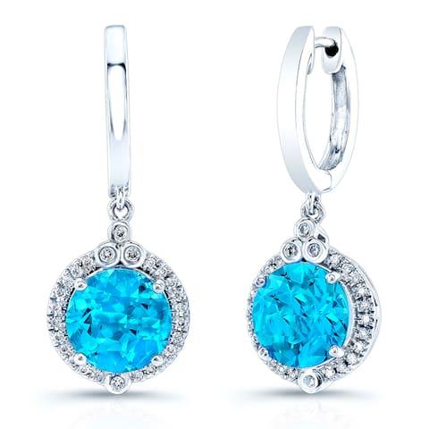 14k White Gold 1/6ct TDW Diamond and Swiss Blue Topaz Hoop Earrings (H-I, VS1-VS2)