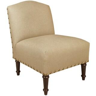 Skyline Furniture Big Nail Camel Back Chair in Linen Sandstone