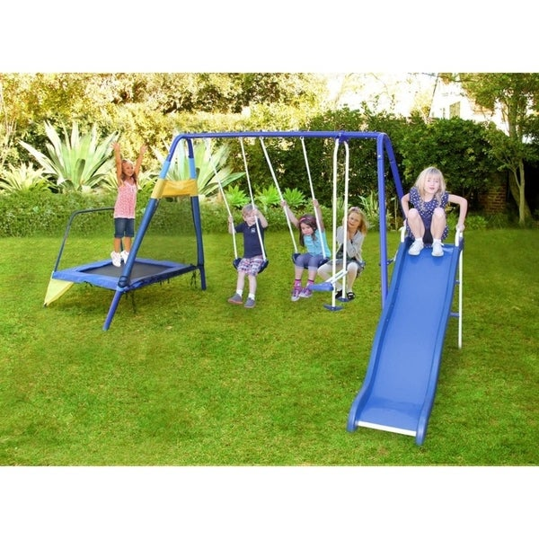 Shop Sportspower Almansor Metal Slide And Swing Set With Trampoline