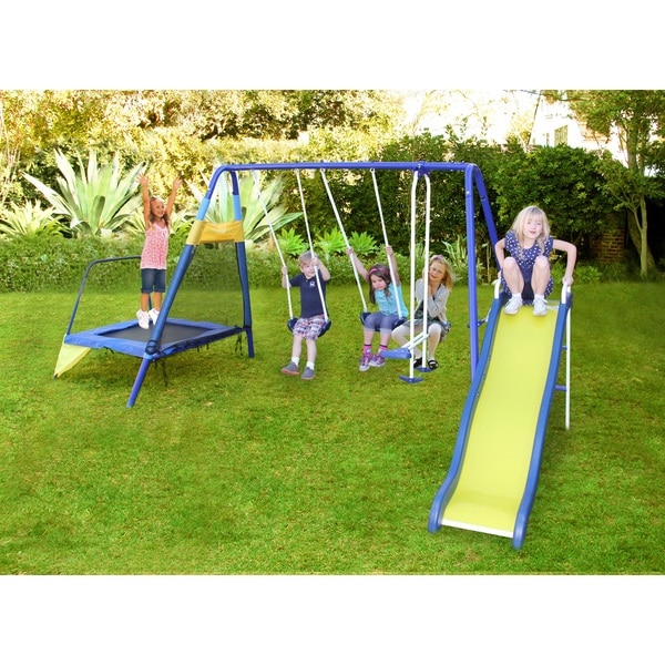 Sportspower Almansor Metal Slide and Swing Set with Trampoline