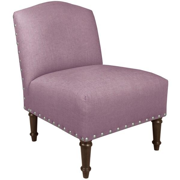 Skyline Furniture Big Nail Camel Back Chair in Linen Lavender