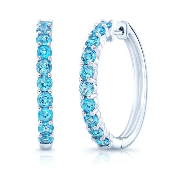 2 5 Mm Earrings: Shop 14k White Gold Blue Topaz 2.5mm Hoop Earrings