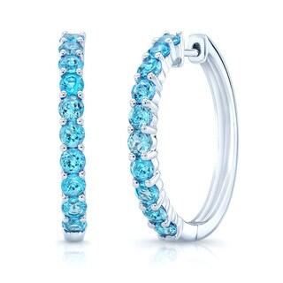 14k White Gold Blue Topaz 2.5mm Hoop Earrings