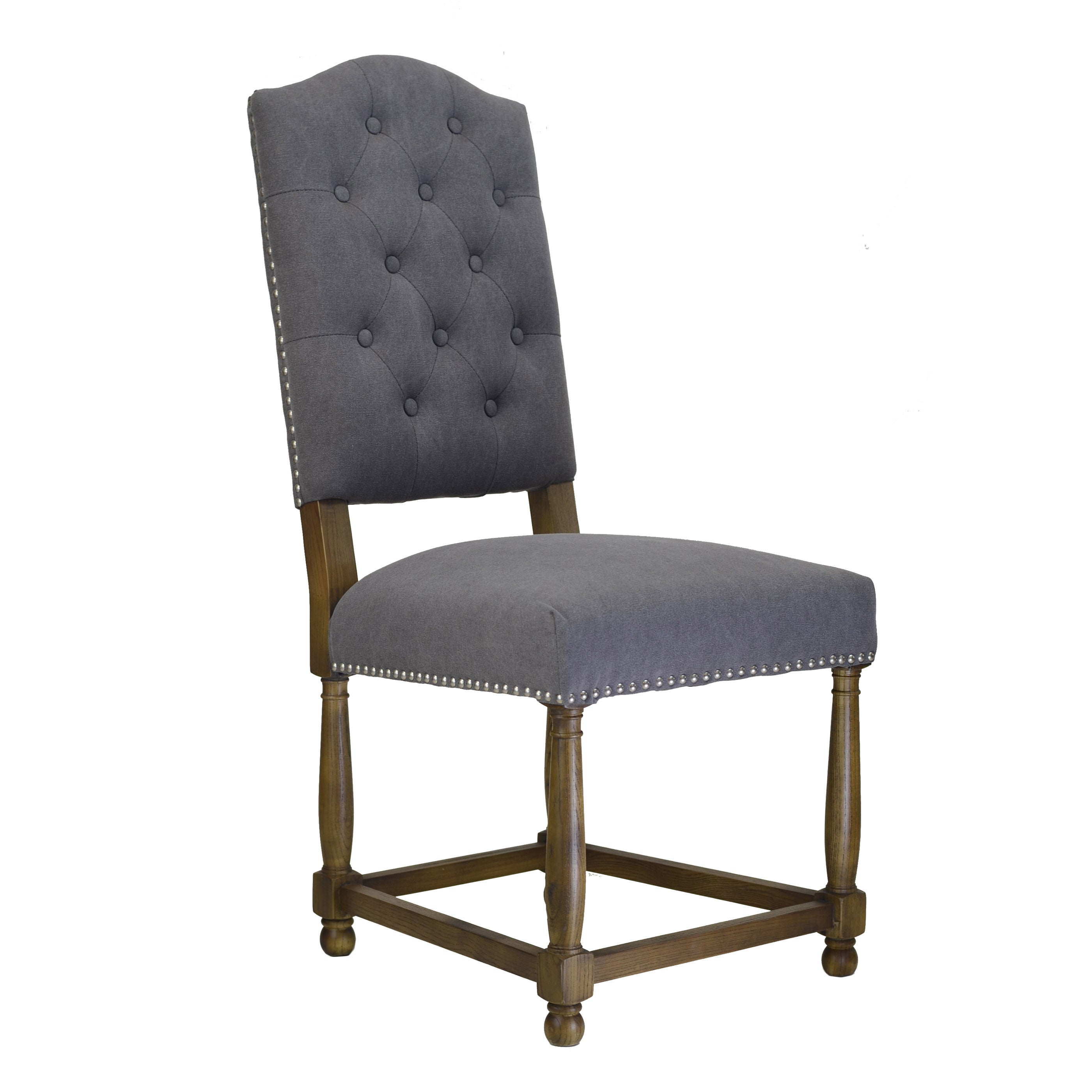 Empire Dining Chair in Frost Grey (Tufted Side Chair with...