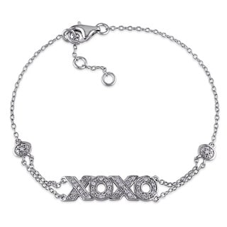 Miadora Sterling Silver 1/10ct TDW Diamond XOXO Charm Bracelet