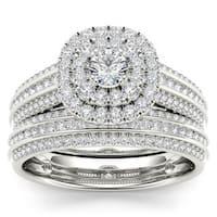 De Couer 10k White Gold 1ct TDW Double Halo Diamond Bridal Set - White H-I