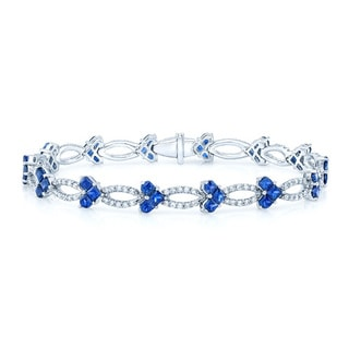 14k White Gold Blue Sapphire 1 3/8ct TDW Diamond Tennis Bracelet (H-I,VS1-VS2)
