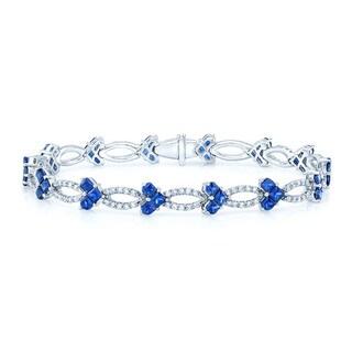 14k White Gold Blue Sapphire 1 3/8ct TDW Diamond Tennis Bracelet (H-I,VS1-VS2)