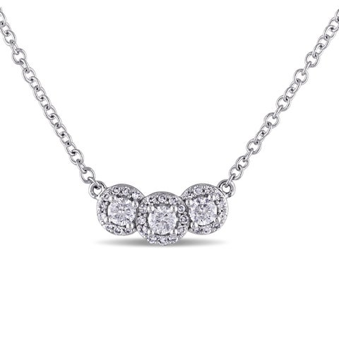 Miadora 14k White Gold 1/2ct TDW Diamond Necklace