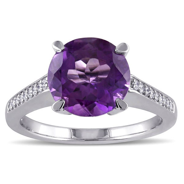 Miadora Sterling Silver Amethyst and 1/8ct TDW Diamond Cocktail Ring (G-H, SI1-SI2) - Purple
