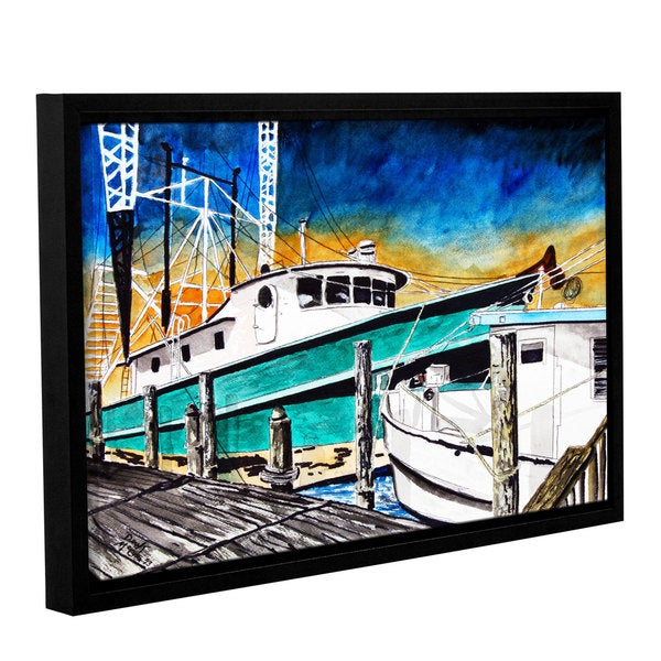 ArtWall Derek Mccrea 'Shrimp Boats' Gallery-wrapped Floater-framed Canvas