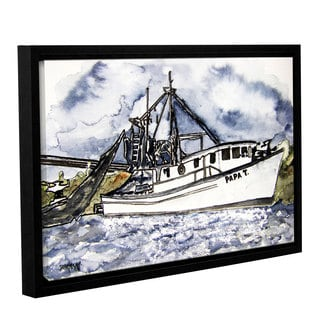 ArtWall Derek Mccrea 'Shrimp Boat' Gallery-wrapped Floater-framed Canvas