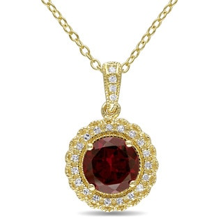 Miadora Yellow Plated Sterling Silver Garnet and 1/10ct TDW Diamond Halo Necklace (G-H, I2-I3)