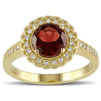 Miadora Yellow Plated Sterling Silver Garnet and 1/8ct TDW Diamond Halo Ring (G-H, I2-I3)