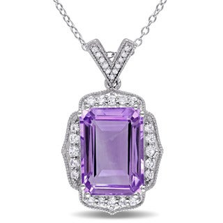 Miadora Sterling Silver Amethyst, Topaz and Diamond Accent Drop Necklace