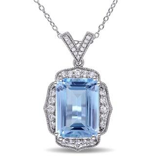 Miadora Sterling Silver Topaz and Diamond Accent Drop Necklace