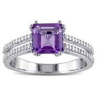 Miadora Sterling Silver Amethyst and 1/5ct TDW Diamond Cocktail Ring (G-H, I2-I3)