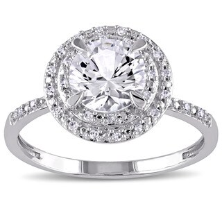 Link to Miadora 10k White Gold Created White Sapphire and 1/10ct TDW Diamond Double Halo Ring Similar Items in Rings