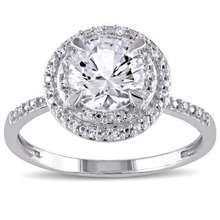 Miadora 10k White Gold Created White Sapphire and 1/10ct TDW Diamond Double Halo Ring (G-H, I1-I2)