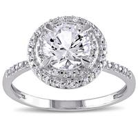 Miadora 10k White Gold Created White Sapphire and 1/10ct TDW Diamond Double Halo Ring
