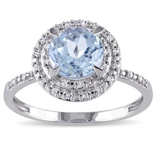 Miadora 10k White Gold Blue Topaz and 1/10ct TDW Diamond Double Halo Ring (G-H, I1-I2)