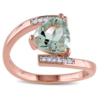 Miadora Rose Plated Sterling Silver Green Amethyst and Diamond Accent Bypass Ring (G-H, I2-I3)