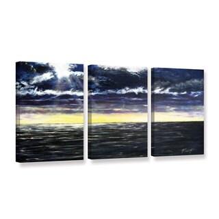 ArtWall Gene Foust 'Ravage Sea' 3 Piece Gallery-wrapped Canvas Set