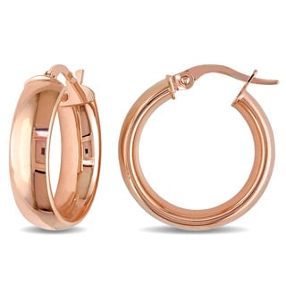 Miadora 10k Rose Gold Italian Hoop Earrings