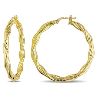 Miadora 10k Yellow Gold Italian Twisted Hoop Earrings
