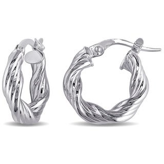 Miadora 10k White Gold Italian Twisted Hoop Earrings