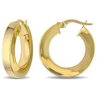 Miadora 10k Yellow Gold Italian Square Band Hoop Earrings