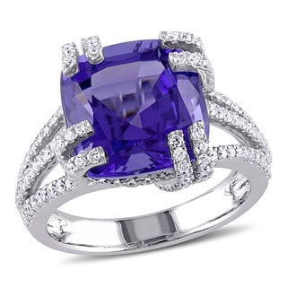 Miadora Signature Collection 14k White Gold Tanzanite and 3/4ct TDW Diamond Cocktail Ring (G-H, SI1-SI2)