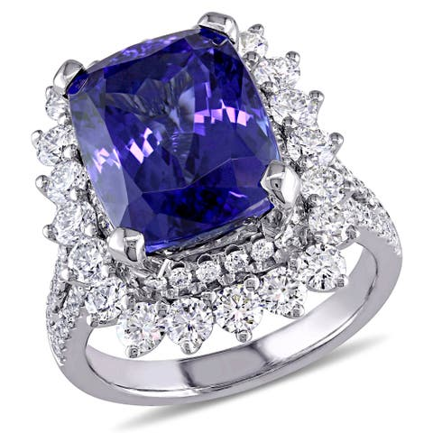 Miadora Signature Collection 14k White Gold Tanzanite and 1 3/4ct TDW Diamond Cocktail Engagement Ring (G-H, SI1-SI2) - Blue