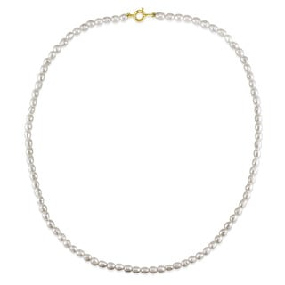 Miadora Goldtone Cultured Freshwater White Pearl Necklace (3-5 mm)