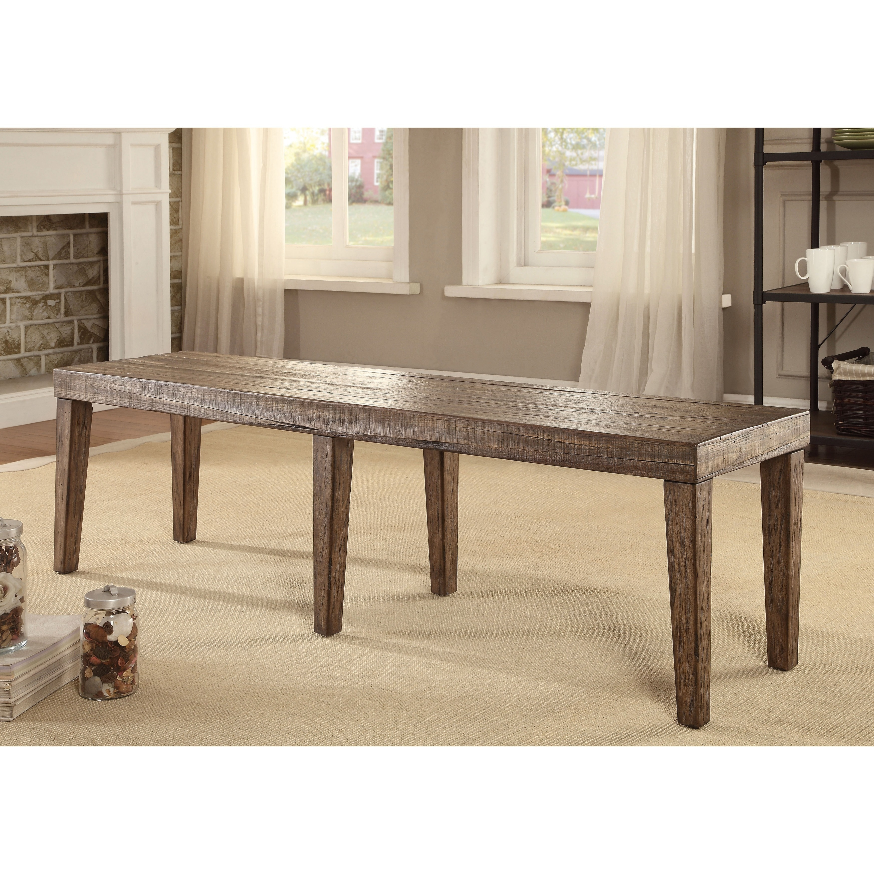 Furniture of America Bailey Rustic Weathered Elm Dining B...