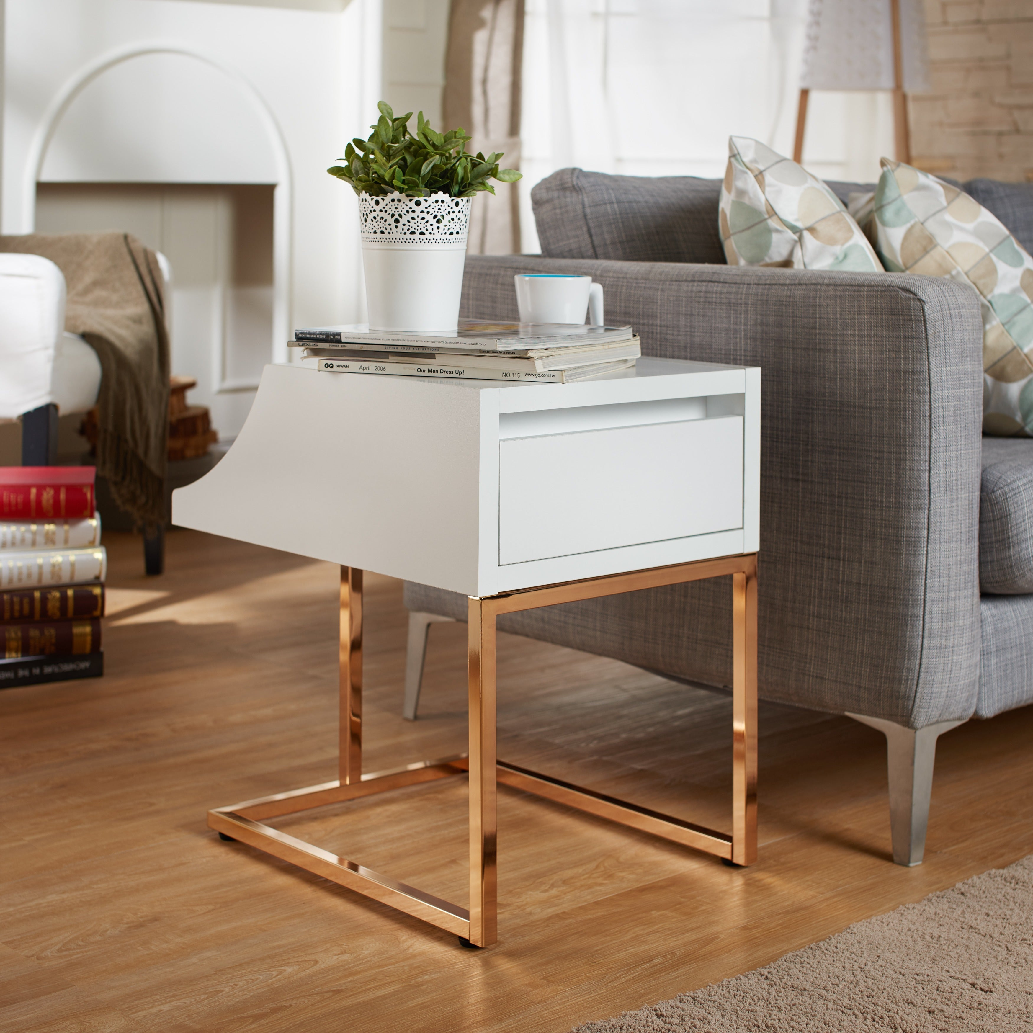 Sensational Furniture Of America Lorria Contemporary Rose Gold End Table Caraccident5 Cool Chair Designs And Ideas Caraccident5Info