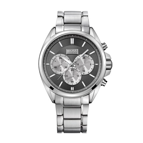 Hugo Boss Men's Chronograph Black Dial Silver-Tone Stainless Steel Bracelet Watch