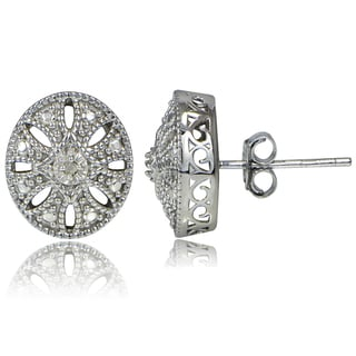DB Designs Sterling Silver Diamond Accent Filigree Oval Stud Earrings