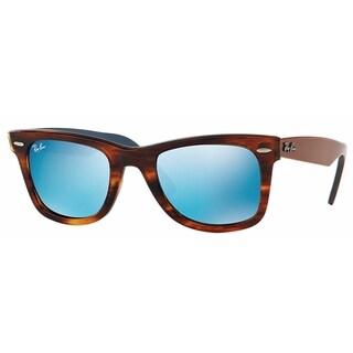 Ray-Ban Wayfarer RB2140 Unisex Tortoise Frame Blue Flash Mirror Lens Sunglasses