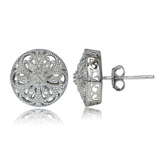 DB Designs Sterling Silver Diamond Accent Filigree Round Stud Earrings