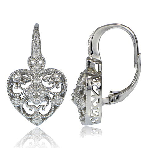 DB Designs Sterling Silver Diamond Accent Filigree Heart Leverback Earrings
