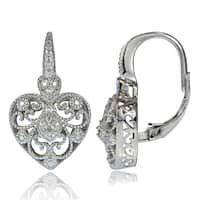 DB Designs Sterling Silver Diamond Accent Filigree Heart Leverback Earrings