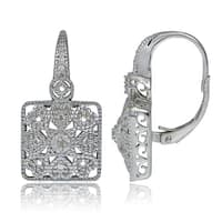 DB Designs Sterling Silver Diamond Accent Filigree Square Leverback Earrings