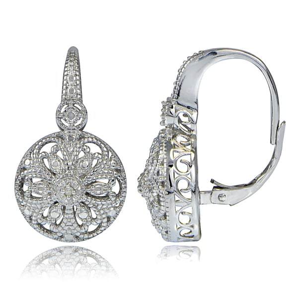 DB Designs Sterling Silver Diamond Accent Filigree Round Leverback Earrings