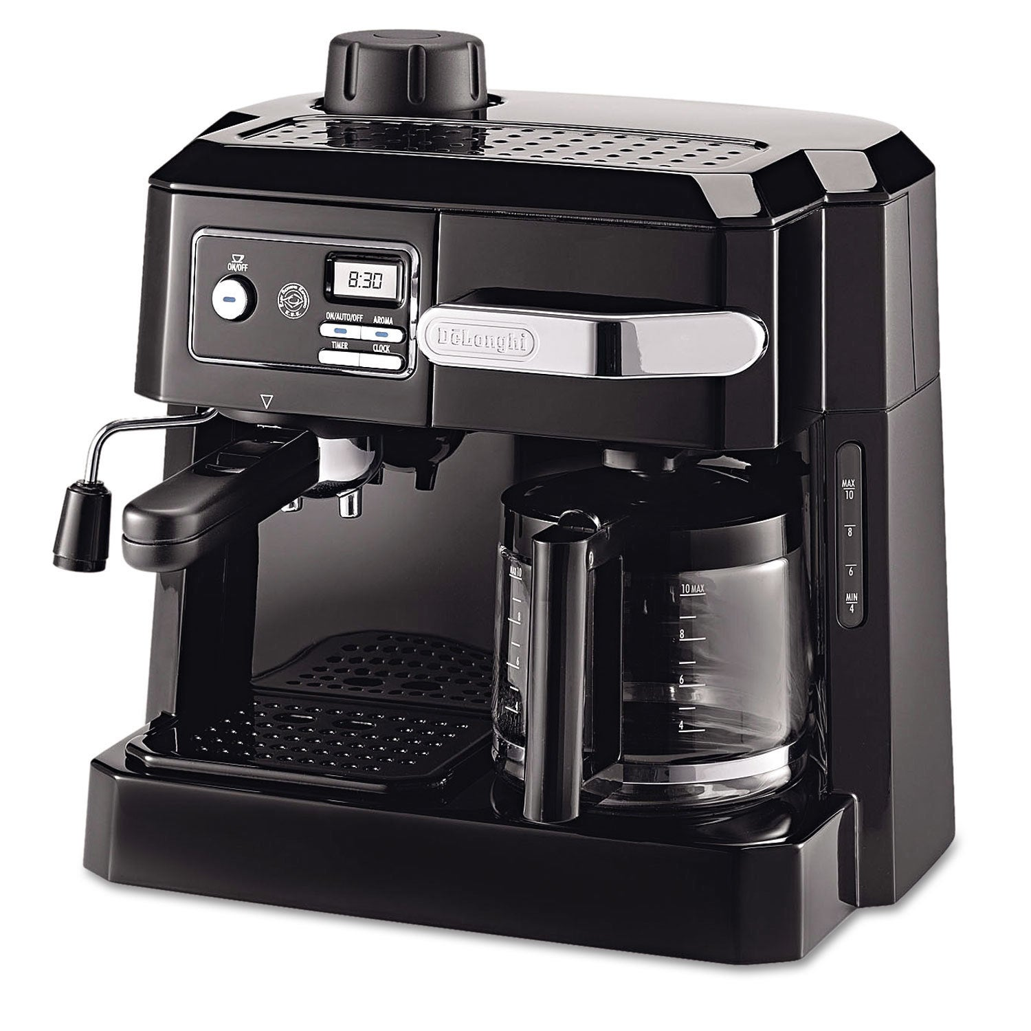 DeLonghi BCO320T Combination Drip Coffee, Cappuccino and Espresso Machine with Programmable Timer - Black As Is Item Black, Silver